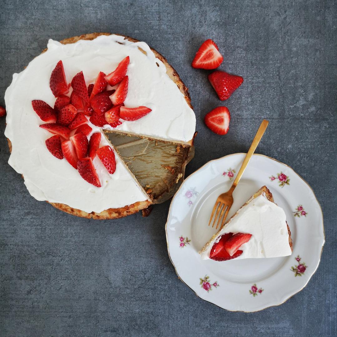 Aardbeien kaastaart zonder suiker