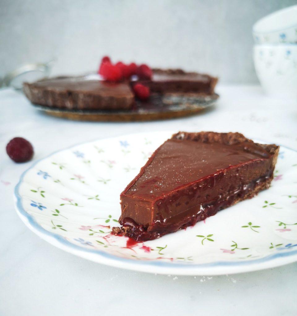 Chocolade karameltaart met frambozen